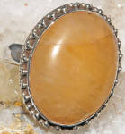 Big Oval Orange Calcite Ring Sterling Silver Gemstone Rings
