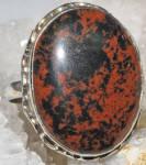Brown Black Mahogany Obsidian Sterling Silver Gemstone Ring