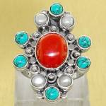 Sterling Silver Gemstone Turquoise Coral Ring 8