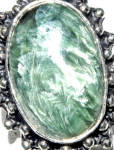 Big Seraphinite Ring Sterling Silver Angel Wings 8 1/4