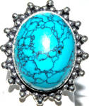 Oval Turquoise Sterling Silver Gemstone Ring 8