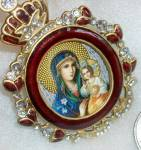 Madonna And Child Red Enamel Pendant Large Icon