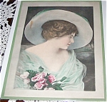 Victorian & Edwardian Ladies Prints: Lady In Hat With Pink Roses