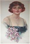 Vintage Print Lady Lavender Pink Roses J Knowles Hare