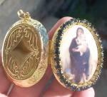 Madonna Child Pendant Virgin Mary Locket Rhinestone