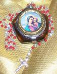 Vintage Religious Madonna And Child Rosary Icon Pendant
