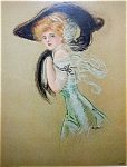 Antique Print Fashion Big Hat Lady Stumm