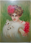 Antique Stone Lithograph Lady In Fur Muff