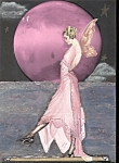 Pink Full Moon Ocean Fairy Art Print Altered Art