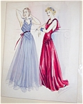 Vintage Watercolor Painting Ladies Fashion Gowns Dresses