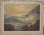 Crashing Waves On Maine Shoreline By Wm Ehrig