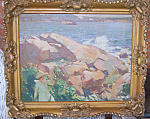 American Impressionist Seascape Oil On Canvas C 1935