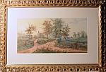 Watercolor Of Farm Scene Signed A Taunay