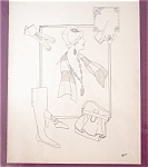 Vintage Pen Ink Signed Drawing Ladies Fashion Hats Jewelry Purses