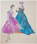 Vintage Fashion Painting Ladies Dresses Pen Ink Watercolor 1940