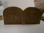 Signed Hammered Acid Cutback Copper Bookends