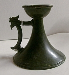 Verdegre Finish Bronze Candlestick W/dragon Head Handle