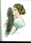 Antique Edwardian Lady With Fan Print Harrison Fisher