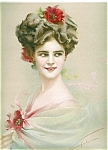 Victorian Edwardian Glamour Ladies Prints: Lady W/ Flowers