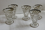 Sterling Overlay Art Deco Martini Set 6pc