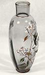 Light Blue W/heavy Raised Enameled Bird Vase