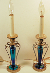 Pair Of Candlestick Steuben Glass Lights Signed