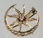 14k Sun & Moon Diamond And Pearls Watch Pin