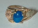 Black Hills Gold Ring W/blue Stone
