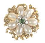 18k Pearl Diamonds & Emerald Ring