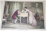 Colonial Romance Print: Music: Piano Couple In Parlor