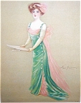 Maud Stumm Print Stone Lithograph Victorian Lady Singing Music