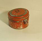 Red Tole Ware Spice Box/safe W/7 Japanned Tins
