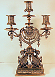 French Gilt & Silvered Figural Candelabra