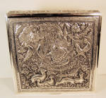 Deeply Repoussed Persian Silver Box Signed