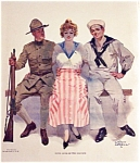 Orson Lowell Prints: Both Arms Of Service Army, Navy Sailor Romance