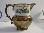 Little Jockey Motif Copper Lustre Mug 19th Cent