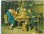 Antique Tavern Print Men Pipes Beer Steins Card Game