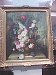 Large Framed Floral Still Life Oil On Canvas