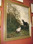 Belgian Oil On Canvas Cattle In Landscape