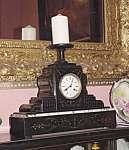 19th Century Black Marble Clock With Candle Holder