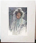 Vintage Harrison Fisher Print Victorian Lady Head Scarf, Veil