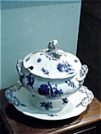 Flow Blue Newton Minton Soup Tureen & Platter