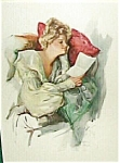 Vintage Harrison Fisher Print Victorian Lady Love Letters