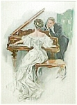 Harrison Fisher Vintage Print I Hear Her Sing: Victorian Piano Romance