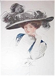 Harrison Fisher Antique Print Victorian Beauty Feathered Hat