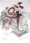 Music Hath Charms Victorian Piano Lady Man Print Harrison Fisher