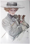 Vintage Harrison Fisher Victorian Lady Jack Russell Terrier Print