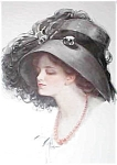 Vintage Harrison Fisher Print Lady In Big Feather Hat