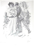 Vintage Harrison Fisher Print: Garden Romance