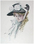 Print : Harrison Fisher Litho: Victorian Lady Big Flower Hat